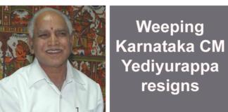 Weeping Karnataka CM Yediyurappa resigns